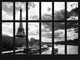 Window View - River Seine with Bateaux Mouches - Eiffel Tower at Sunset - Paris - France Photographic Print by Philippe Hugonnard