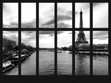 Window View - View of the River Seine and the Eiffel Tower - Paris - France - Europe Photographic Print by Philippe Hugonnard