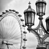 Royal Lamppost UK and London Eye - Millennium Wheel - London - England - United Kingdom - Europe Photographic Print by Philippe Hugonnard