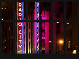 Window View - View of the Radio City Music Hall by Night - Manhattan - New York City Photographic Print by Philippe Hugonnard