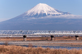 Train and Mt. Fuji Photographic Print by GenPi Photo