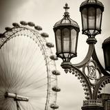 Royal Lamppost UK and London Eye - Millennium Wheel - London - England - United Kingdom - Europe Photographic Print by Philippe Hugonnard