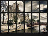 Window View - Notre Dame Cathedral with the Pont au Double - River Seine - Paris - France - Europe Photographic Print by Philippe Hugonnard