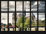 Window View - Notre Dame Cathedral - Paris - France - Europe Photographic Print by Philippe Hugonnard