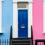 The Boy and Girl Home - Building Facade Colors Blue and Pink - Portobello Road - Notting Hill - UK Photographic Print by Philippe Hugonnard