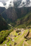 View to Valley, Early Morning Mist at Machu Picchu, Peru Photographic Print by Cultura Travel/Karen Fox
