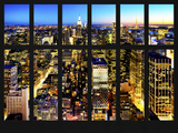 Window View - Skyline of Manhattan by Night - Midtown Manhattan - Times Square - New York City Photographic Print by Philippe Hugonnard