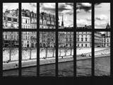Window View - Along the River Seine with Parisian Buildings - Paris - France - Europe Photographic Print by Philippe Hugonnard