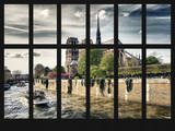 Window View - Notre Dame Cathedral and Bateau Mouche on the River Seine - Paris - France - Europe Photographic Print by Philippe Hugonnard