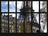 Window View - the Eiffel Tower and Buildings of Parisian Architecture - Paris - France - Europe Photographic Print by Philippe Hugonnard