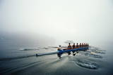 Rowing Team on Lake in Early Morning Fog Reproduction photographique par Nick Wilson