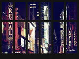 Window View - View of Times Square by Night with top of the Chrysler Building - Manhattan - NYC Photographic Print by Philippe Hugonnard