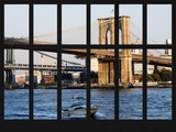 Window View - Brooklyn Bridge and Manhattan Bridge - East River - Manhattan - New York City Photographic Print by Philippe Hugonnard