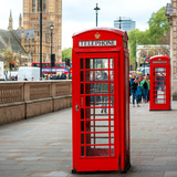 Red Telephone Booths - London - UK - England - United Kingdom - Europe - Square Format Photography Photographic Print by Philippe Hugonnard