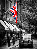 London Taxi and English Flag - London - UK - England - United Kingdom - Europe Photographic Print by Philippe Hugonnard