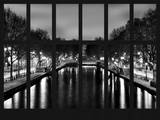 Window View - Night View of the Canal Saint Martin - Paris - France - Europe Photographic Print by Philippe Hugonnard