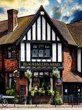 UK Cottage - The Blacksmiths Arms - St Albans - Hertfordshire - London - UK - England Lámina fotográfica por Philippe Hugonnard