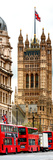 The House of Parliament and Red Bus London - UK - England - United Kingdom - Europe - Door Poster Photographic Print by Philippe Hugonnard