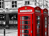Red Telephone Booths - London - UK - England - United Kingdom - Europe - Spot Color Photography Photographic Print by Philippe Hugonnard