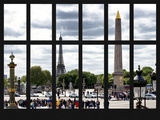 Window View - Urban Street Scene at Place de la Concorde with the Eiffel Tower - Paris - France Photographic Print by Philippe Hugonnard