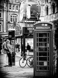 Loving Couple Kissing and Red Telephone Booth - London - UK - England - United Kingdom - Europe Photographic Print by Philippe Hugonnard