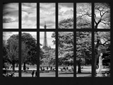 Window View - View of a Parisian Park (The Tuileries) and Eiffel Tower - Paris - France - Europe Photographic Print by Philippe Hugonnard