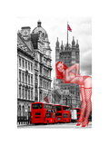 Art Print Series - The House of Parliament and Red Bus London - UK - England - United Kingdom Photographic Print by Philippe Hugonnard