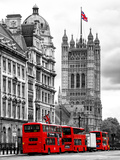 The House of Parliament and Red Bus London - UK - England - United Kingdom - Europe Photographic Print by Philippe Hugonnard