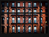 Window View - Building Facade in Red Brick and Stairways Photographic Print by Philippe Hugonnard