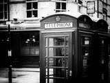 Red Telephone Booths - London - UK - England - United Kingdom - Europe - Old Black and White Photographic Print by Philippe Hugonnard