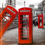 Red Telephone Booths - London - UK - England - United Kingdom - Europe Photographic Print by Philippe Hugonnard