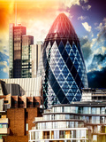 41 St Mary Axe - The Gherkin - Skyscraper in London's main Financial District - London - England Photographic Print by Philippe Hugonnard