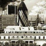 51 St Mary Axe (The Gherkin) and the Custom House of Royal Victoria Dock - City of London - UK Photographic Print by Philippe Hugonnard