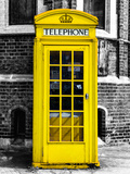 Red Phone Booth in London painted Yellow - City of London - UK - England - United Kingdom - Europe Photographic Print by Philippe Hugonnard