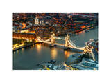 View of City of London with the Tower Bridge at Night - London - UK - England - United Kingdom Photographic Print by Philippe Hugonnard