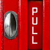 Pull Sign from a Red Telephone Booth - London - UK - England - United Kingdom - Europe Photographic Print by Philippe Hugonnard
