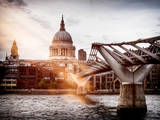 Millennium Bridge and St. Paul's Cathedral - City of London - UK - England - United Kingdom Photographic Print by Philippe Hugonnard
