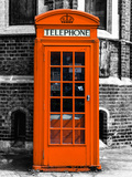 Red Phone Booth in London painted Orange - City of London - UK - England - United Kingdom - Europe Photographic Print by Philippe Hugonnard