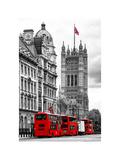 The House of Parliament and Red Bus London - UK - England - United Kingdom - Europe Impressão fotográfica por Philippe Hugonnard