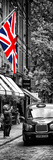 London Taxi and English Flag - London - UK - England - United Kingdom - Door Poster Photographic Print by Philippe Hugonnard