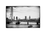The Millennium Wheel and Houses of Parliament - Views of Hungerford Bridge and Big Ben - London Photographic Print by Philippe Hugonnard
