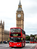 London Red Bus and Big Ben - London - UK - England - United Kingdom - Europe Reprodukcja zdjęcia autor Philippe Hugonnard