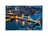 View of City of London with the Tower Bridge at Night - London - UK - England - United Kingdom Lámina fotográfica por Philippe Hugonnard
