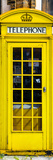 Red Phone Booth painted Yellow in London - City of London - UK - England - Photography Door Poster Photographic Print by Philippe Hugonnard