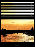 Window View - Color Sunset in Paris with the Seine River - France - Europe Photographic Print by Philippe Hugonnard