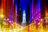 Wall Mural - Urban Stretch Series - City Hall and Avenue of the Arts by Night - Philadelphia Photographic Print by Philippe Hugonnard