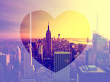 Love NY Series - Manhattan at Sunset with the Empire State Building - New York - USA Fotografiskt tryck av Philippe Hugonnard
