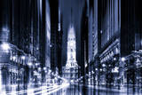 Urban Stretch Series - City Hall and Avenue of the Arts by Night - Philadelphia Photographic Print by Philippe Hugonnard