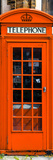 Red Phone Booth painted Orange in London - City of London - UK - England - Photography Door Poster Photographic Print by Philippe Hugonnard