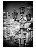 Royal Lamppost UK and London Eye - Millennium Wheel - London - UK - England - United Kingdom Photographic Print by Philippe Hugonnard